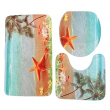 3Pcs Seashell Contour Sea World Design Pedestal Rug Bath Mat Flannel  Pedestal Rug Lid Toilet Cover Carpet Bathroom Set
