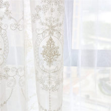 CITYINCITY European White Curtains For living room Sheer Voile Luxury Embroidered Tulle Curtains For Kitchen Bedroom Customized(China)
