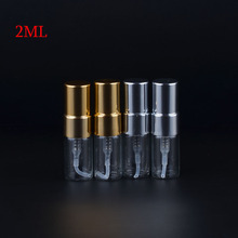 MUB 2 ML100 Pieces/lot Mini Refillable Perfume Bottles With Metal Spray&Empty Glass Perfume atomiseur de parfum rechargeable(China)