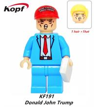 KF191 Super Heroes Funny Dolls Donald John Trump With Two Color Hat Simpson Batman Building Blocks Model Bricks Kids Gift Toys(China)