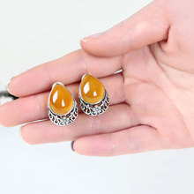 Natural Yellow Chalcedony Earring 925 Silver Women S925 Thai Sterling Silver boucle d'oreille Stud Earrings