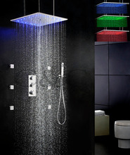 Auto - Thermostat Control Rainfall Bathroom LED Shower Faucet Set Ceil Mounted Two Functions Swash And Rain Shower Head