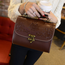 Vintage Trunk Crossbody Bags For Women Leather Shoulder Bag Women Small Crossbody Messenger Bags Purses And Handbags X54(China)