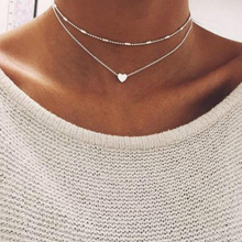 New Double Layer Silver Chain Love Heart Necklace For Women Beads Choker Pendant Necklace Chocker collier femme Kolye(China)