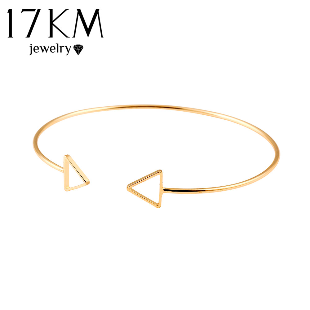 17KM Trendy Geometric Double Triangle Bangle Alloy Gold Color Classic Bangles Fashion Jewellery Design Opening Men Women(China (Mainland))