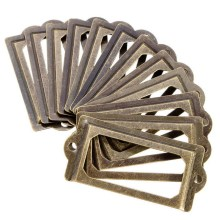 12Pcs/set Antique Brass Metal Label Pull Frame Furniture Handle File Name Card Holder For Furniture Cabinet Drawer Box Case Bin