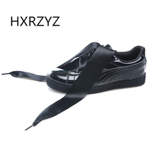HXRZYZ Spring and autumn new Ribbon bow shoes genuine leather shoes women casual shoes Black and white couple models flat shoes