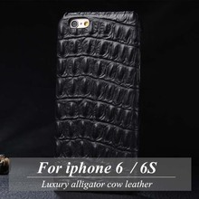 For iphone 6 6S case Luxury alligator cow leather Case for iphone6 cover 4.7 inch iphone6S case apple case coque funda capa(China)