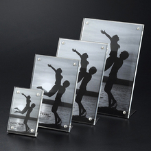 (2 units/pack)Acrylic Table Card &Sign Display Holders,Plexiglass AD Frames with Metal Base for Hotel,Bar,restaurant,Cafe ADS007