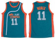Green Mens Basketball Jersey #11 ED Monix Jersey Flint Tropics Semi Pro Movie Embroidered Throwback Sleeveless Mesh Fabric