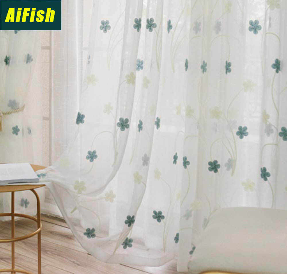 Embroidered Blue Floral Sheer Curtains for Bedroom Voile Curtains Tulle Draperies for French Door Ready Made Window Gauze TM0153