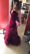 2017 Burgundy Mermaid Prom Dresses Custom Made Sweetheart African Aso Ebi Ruffles Tiered 2k17 Sexy Backless Long Evening