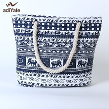 ADIYATE New Sac Plage The Elephant Femmes Sac Plage Tote Bag Canvas Main Cheap Exempt Postage Quality Bolsa De Playa Grande Big