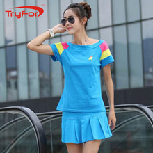 Summer Korean patchwork plus size workout clothes for girls training&exercise sets clothing tennis skirt suit workout wear 6367(China)