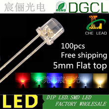 100pcs 5mm LEDs red/green/blue/yellow/white/warm white/orange/pink diffused Flat top led 5mm DIP LED water clear LED light diode