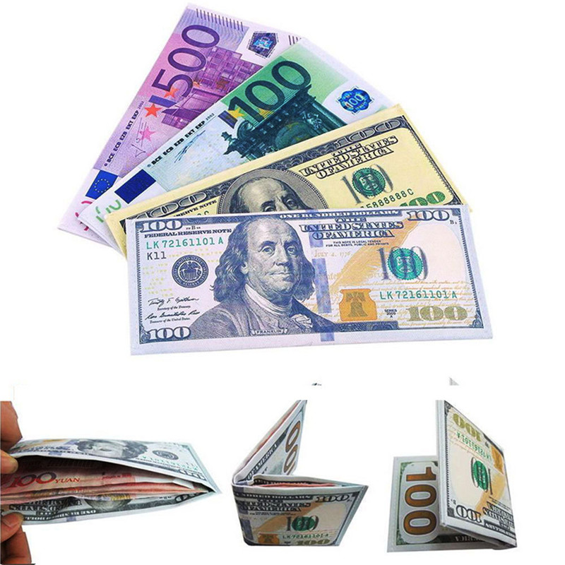 High Qualidy Novelty Uni Currency Notes Pattern Pound Dollar Euro Purse Wallets Pocket Slim Money Clips Free Shipping