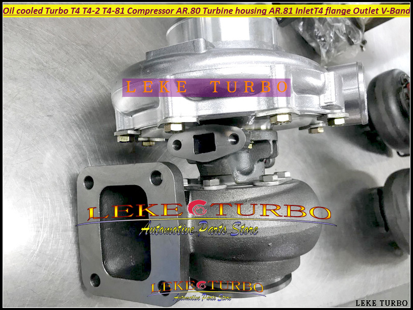BEST Turbo T4 T4-2 T4-81 Oil cooled Turbine Turbocharger Compressor AR.80 Turbine housing AR.81 Inlet T4 flange Outlet V BAND (4)
