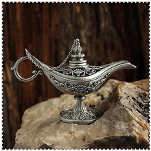 Home Decoration Vintage Style Fairy Tale Aladdin Magic Lamp Hollow Tea Pot Genie Lamp
