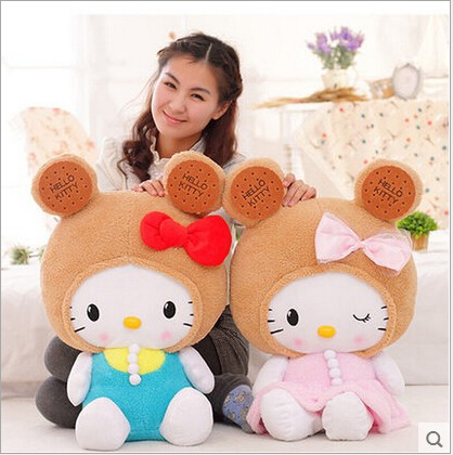 50cm Kawaii Biscuits Cookies Hello Kitty Bow Plush Doll Plush Stuffed Toy Birthday Gift for girl kid home decoration<br><br>Aliexpress