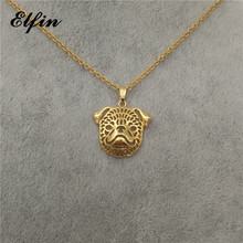 Elfin New Trendy Hollow Brussels Griffon Necklace Gold Color Silver Color Animal Pet Jewellery Women Sreampunk Pendant Necklace(China)