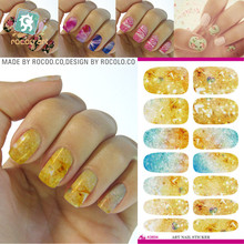 Gold Flash Bling Bling Nail Diy Art Tips Decoration Sticker Nails Wraps Styling Glitter Rhinestones Water Transfer Sticker