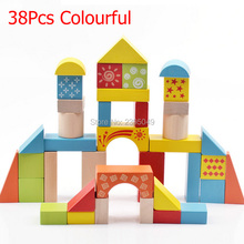 38 pcs Colourful wooden toys block Safe Children Building Brick Block Construction Toy Kids Intelligence Exercise educational
