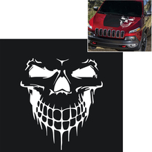 Skull Hood Decal Vinyl Large Graphic Rock Punk Sticker Car Truck Tailgate Window White Color High Quality(China)