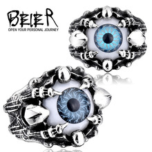 BEIER 2PCS Wholesale Price Punk Men Ring Cool Skull Claw Vivid Eye Rings For Man Antique Men Jewelry