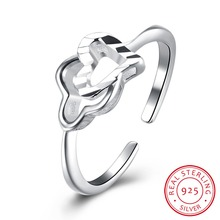 LEKANI 925 sterling silver double heart opening ring jewelry wholesale site factory direct SVR103 adjustable(China)