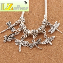 mix Bee Dragonfly insect Charm Beads 18pcs Antique Silver Dangle Fit European Bracelet Jewelry DIY BM31
