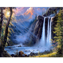 Digital Oil painting by numbers landscape wall decor picture on canvas oil paint coloring by number drawing waterfall craft 8018
