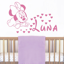 POOMOO Wall Girl Personalised Name Decals Baby Minnie Mouse Vinyl Sticker Baby Girl Name Nursery Art for Kids Rooms