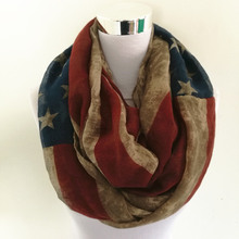 10pcs/lot Vintage American Flag Infinity Scarf Soft and Large American Flag Scarf  women scarves Lovely Flag Scarf
