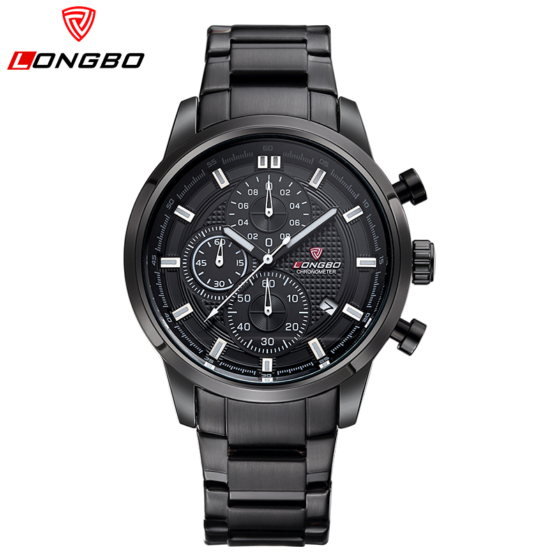 LONGBO Brand 2017 NEW Luxury Mens Quartz Watch Men Military Sports Wristwatch Full Steel Six pin timing watch Reloj Hombre<br><br>Aliexpress