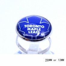 Toronto Maple Leafs Ring Ice Hockey Charms NHL Sport Jewlery Round Glass Dome Silver Plated  Ring For Women Girl Adjustable