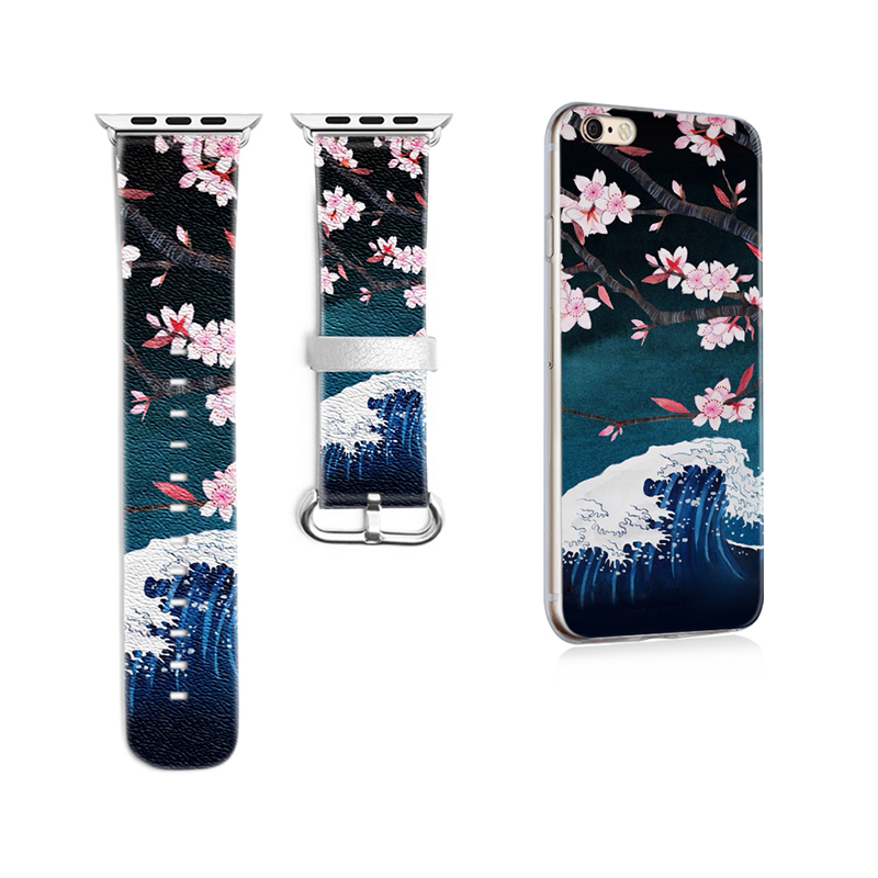 Cherry Blossoms Pattern Band for Apple Watch 38mm 42mm Band for Iwatch Series 1 2 3 Strap Genuine Leather Gift for IPhone Case<br>