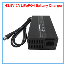 Wholesale 10pcs/lot 43.8V 5A LiFePO4 battery Charger 36V 5A charger RCA Port with aluminum case Used for 12S 36V ebike battery(China)