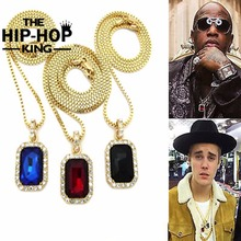 "Mens Iced Out Pendant Chain Hip Hop Rappers Micro Octagon Square Rinestone Color Stone Pendant With 2.4mm 24"" Box Chain Goldtone(China)"