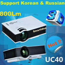 Support Korean !! 2015 New UC40 Projector 800lumens Mini LED home cinema Projector Digital Video Game Proyector HD 3D Beamer