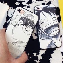 Japan Cartoon Art sketch cute conan Cover For iPhone 7 case One piece Monkey D Luffy 7 plus Case For iphone 6S 6Plus Soft  Coque