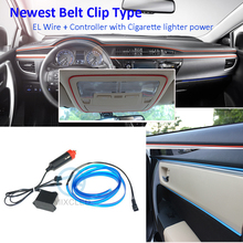 12V 3Meters EL Wire Belt Clip Cigarette Lighter Powered Flexible Neon Light Car Decoration Atmosphere Light With Controller(China)