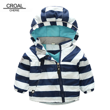 CROAL CHERIE 80-130cm Fashion Star Windproof Striped Jacket For Boys Winter Coat For Girls Children's Winter Velvet Clothes(China)