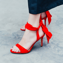 Elegant Riband Silk Summer Ankle Strap Sheep Suede High Heels Sandals Handmade Open Toe And Side Ladies Party Dress Shoes Women