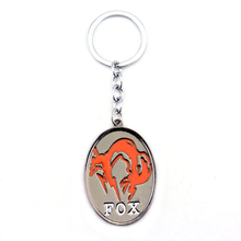 Hot Online Game The Phantom Pain Series keyring Metal Gear Solid 5 V  FOX Logo Orange Ellipse Shape Pendant Keychain Accessories