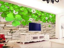 Custom size 3d photo wallpaper living room mural shamrock cultural stone painting TV background non-woven wallpaper for wall 3d(China)