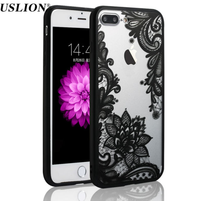 Retro Floral Phone Case For Apple iPhone 7 6 6s 5 5s SE Plus Lace Flower Hard PC+TPU Cases Back Cover Capa
