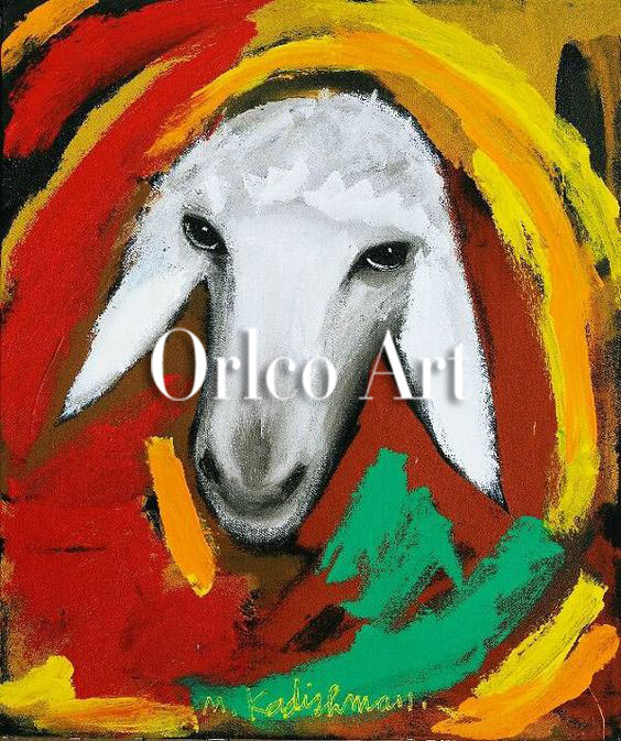 Hand Painted Reproduction Animal Oil Painting on Canvas for Room Decor Color Sheep Head Menashe Kadishman Art Imitation Painting3424