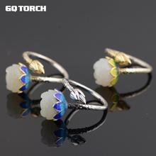 GQTORCH Real 925 Silver Rings Inlaid Hetian Jade Natural Stone Lotus Flower Shaped 18k Gold Plated Enameling Fine Jewelry