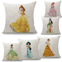 Fairy Princess Printed Linen Decorative Cushion Cover Pillow Covers Pillowcase For Sofa Chair Housse De Coussin(China)