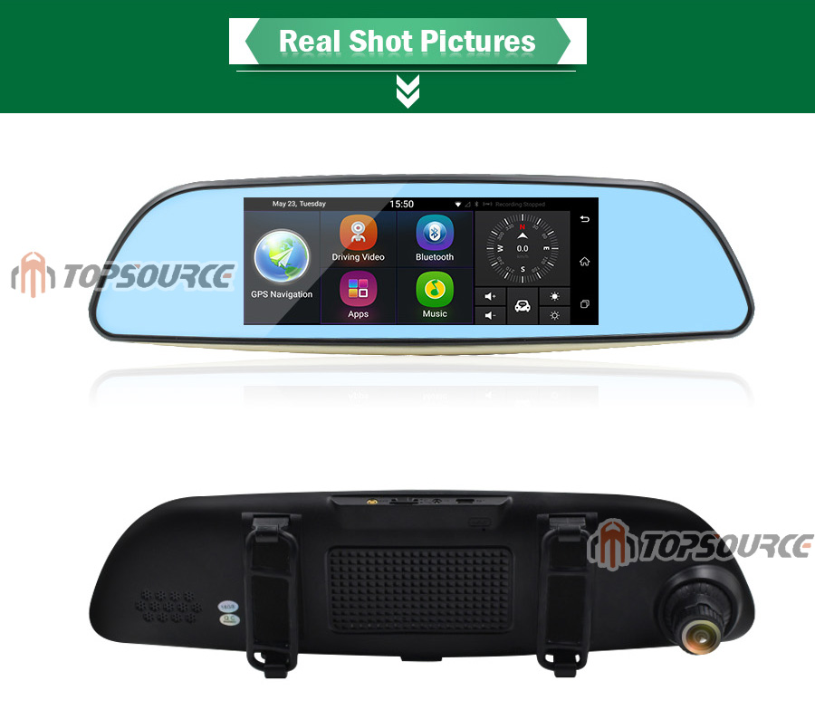 """TOPSOURCE Auto GPS ANDROID 5.0 1G/16G 3G 7"""" IPS Car DVR Mirror Camera Dual Lens 1080P Video Recorder Dash Cam Parking Monitor 11"""